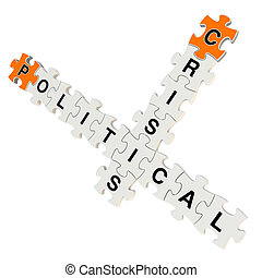 Political crisis 3d puzzle on white background