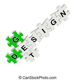 Get design 3d puzzle on white background