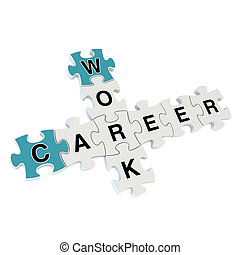 Work career 3d puzzle on white background