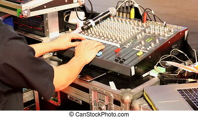 Sound producer working - Professional sound engineer working...