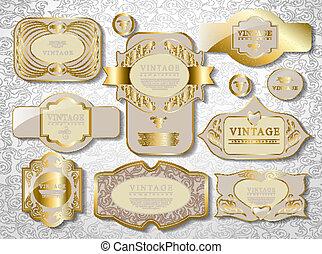 gold card set - gold white card, label set retro vintage old...