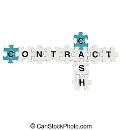 Cash contract 3d puzzle on white