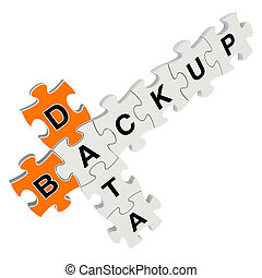 Data backup 3d puzzle on white