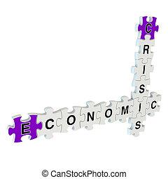 Crisis economic 3d puzzle on white
