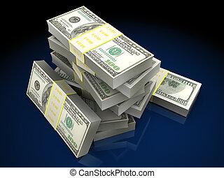 money stack - 3d illustration of dollars stack over dark...