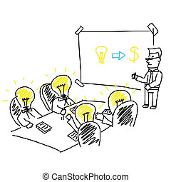 Vector of business meeting and brainstorming presentation...