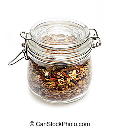 Homemade granola in glass jar - Homemade granola stored in...