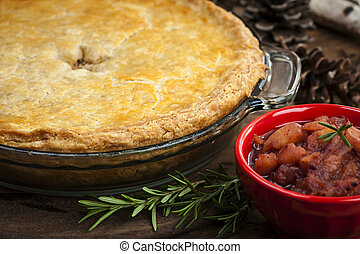 Tourtiere meat pie - Traditional pork meat pie Tourtiere...