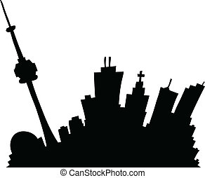 Cartoon Toronto - Cartoon skyline silhouette of the city of...