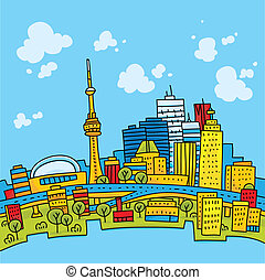 Bright Toronto - Bright, cartoon skyline of downtown...