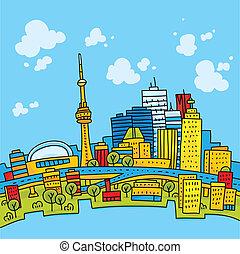 Bright Toronto - Bright, cartoon skyline of downtown...
