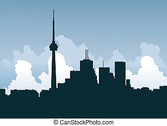 Toronto Silhouette - Skyline silhouette of Toronto, Ontario,...