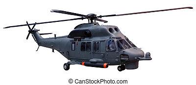 militar, helicóptero, aislado, blanco