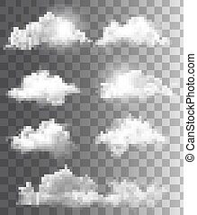 Set of transparent different clouds. Vector.