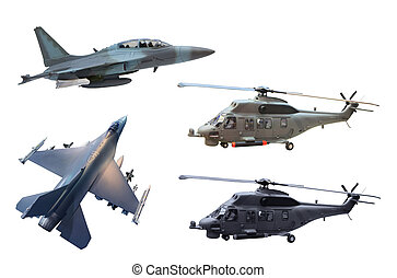 military fighting air plane and helicopter