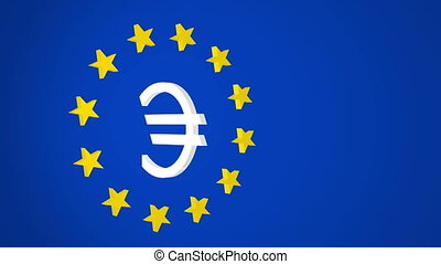 European Union Euro Symbol and Star - Three dimensional...