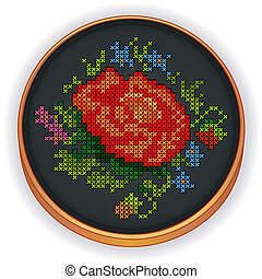 Embroidery, Red Rose, Wood Hoop - Embroidery, Red Rose,...