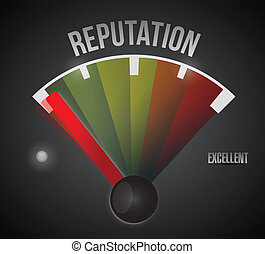 bad reputation speedometer illustration design over a black...