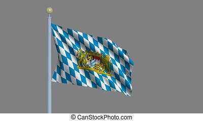 Flag of Bavaria with alpha matte - Flag of Bavaria waving in...