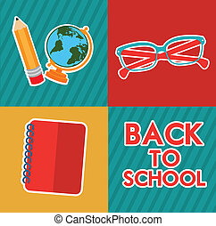 Back to school design over colorful background, vector...