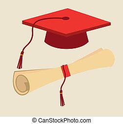 Graduation design over beige background, vector illustration