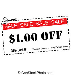 One Dollar Off Sale Coupon - A red, white and black One...