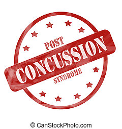 Red Weathered Post Concussion Syndrome Stamp Circle and...