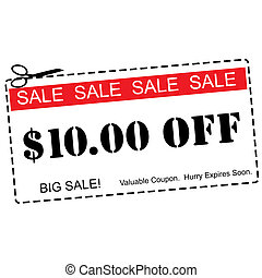 Ten Dollars Off Sale Coupon - A red, white and black Ten...