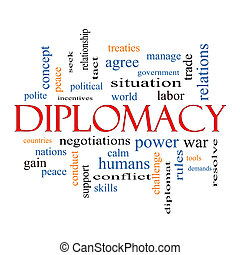Diplomacy Word Cloud Concept with great terms such as world,...
