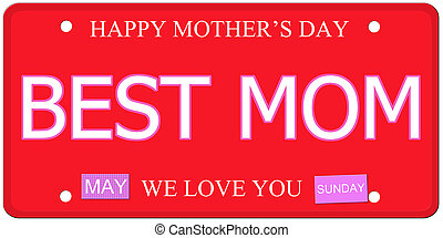 Best Mom Mothers Day Plate - Best Mom written on an...