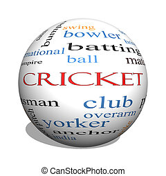 Cricket 3D sphere Word Cloud Concept with great terms such...