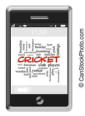 Cricket Word Cloud Concept on Touchscreen Phone