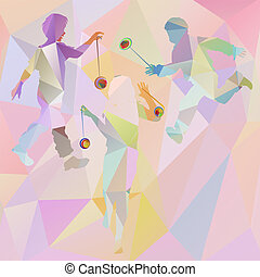 silhouettes of children playing polygonal