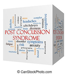 Post Concussion Syndrome 3D cube Word Cloud Concept with...