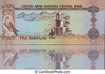 Money from Dubai UAE - Dirhams money from Dubai in a mirror...