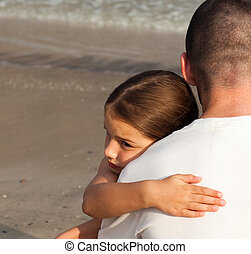 daughter hugging her father - Portrait of a child Their...