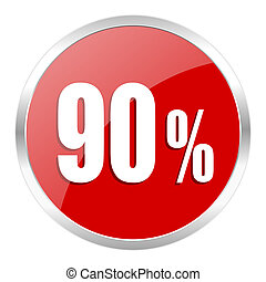 90 percent icon - red web button isolated