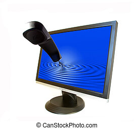 Liquid-crystal monitor and phone isolated on white...