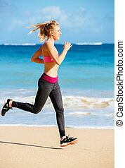 Athletic Fitness Woman Running on the Beach Female Runner...