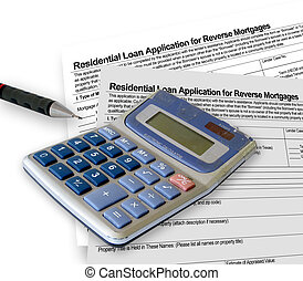 Mortgage application form with a calculator and pen on white...
