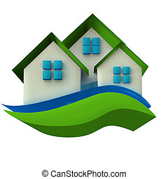 Houses icon 3D image real estate background