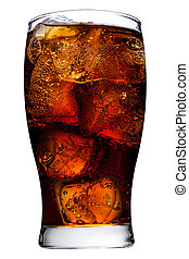 Cola in glass - Ice cube droped in cola glass