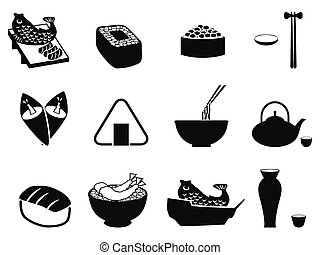 japanese food icons set - isolated black japanese food icons...