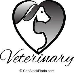 Coração, veterinário, Animais estimação, logotipo