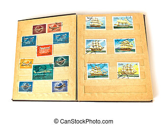 Old scrapbook and postage