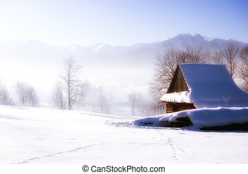 Glamour winter scene - Winter scene in mountains. Old house...