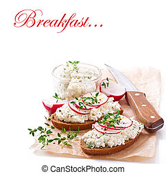Sandwich with radish - Sandwich with cottage cheese, radish,...