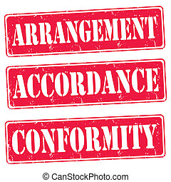 Arrangement,accordance,conformity - Set of red rubber stmps...