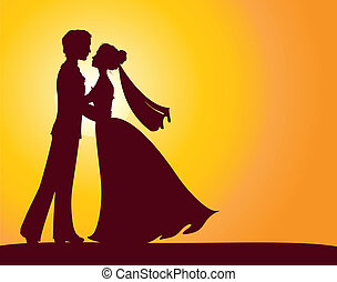 Silhouettes of bride and groom Eps 8 vector illustration