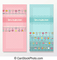 Baby shower cards with funny flowers.